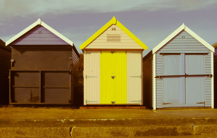 Three Beach Huts - in colour