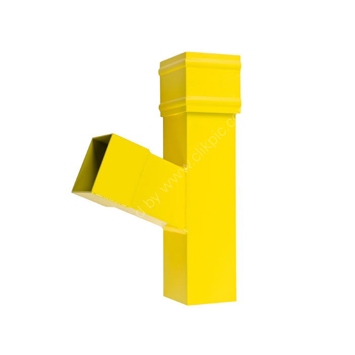 Product photo: square section aluminium rainwater pipe branch connector with gloss yellow finish..
