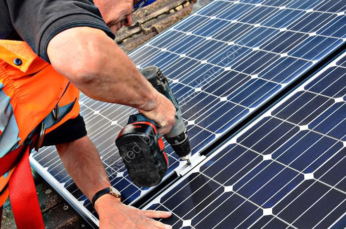 Solar panels - installation in progress