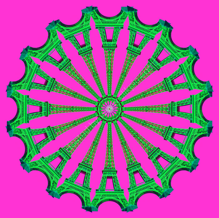 Eiffel Wheel Green Pink