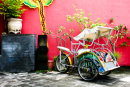Red Wall and Cycle Rickshaw, Bali