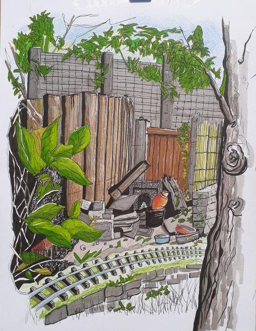 Maria's Garden A4 pen, ink and watercolour