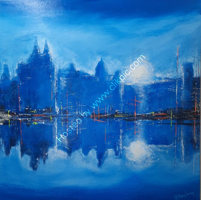 Liverpool Waterfront in Blue 80cm x 80cm - Acrylic on canvas. Available through dot-art £495 (Sold)