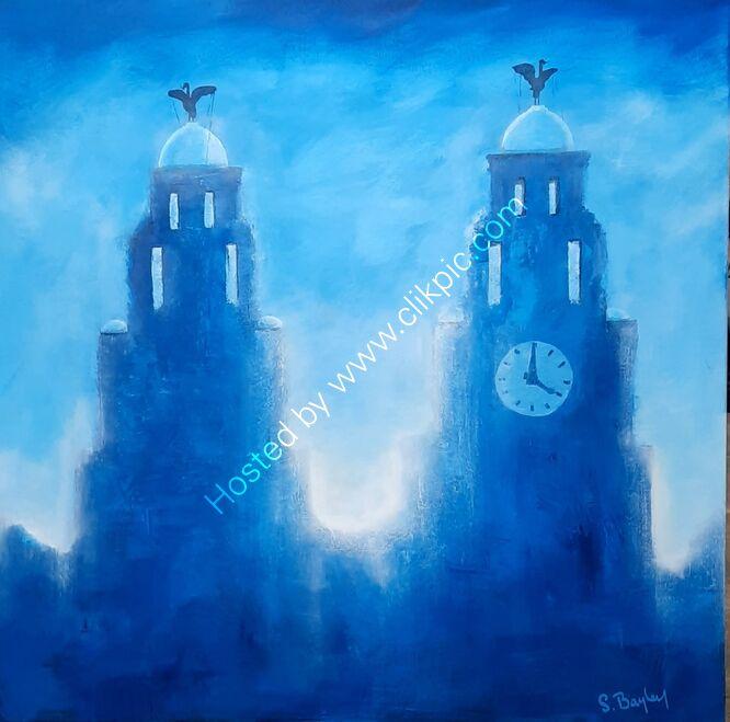 Royal Liver Buildings in Blue 80cm x 80cm - Acrylic on canvas - Available through dot art £495
