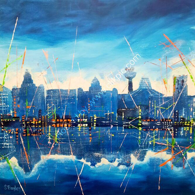 Liverpool Lasers 60cm x 60cm. Acrylic on deep canvas. Available through dot art. £295