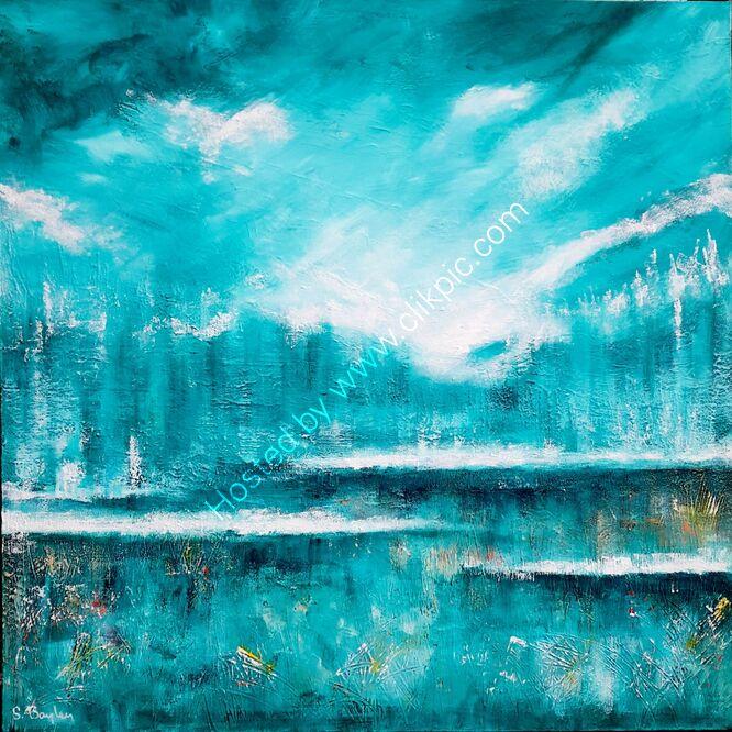 Turquoise Dream 1m x 1m Acrylic on deep canvas. Available through dot art. £595