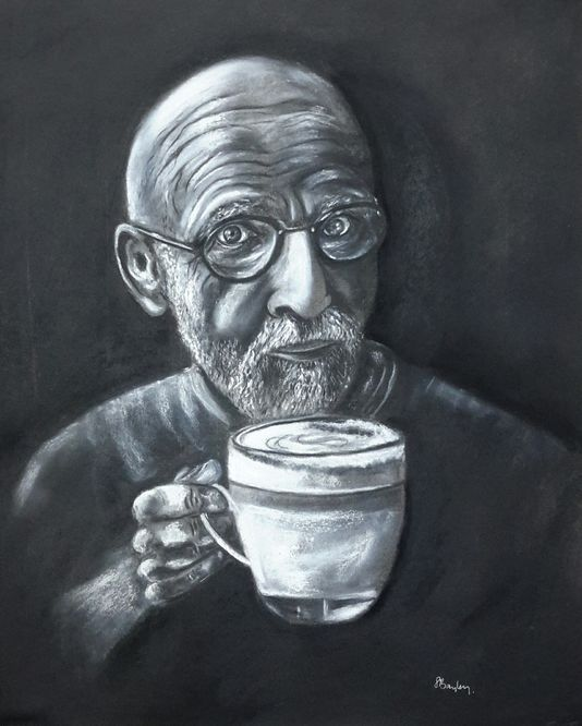 Portrait of John Minnion in charcoal, chalk and pastel