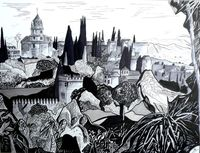 Alhambra Palace in ink A3
