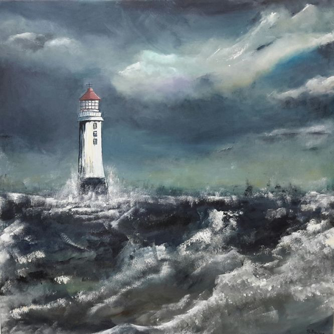 New Brighton Lighthouse - Acrylic on canvas 80cm x 80cm (Sold)