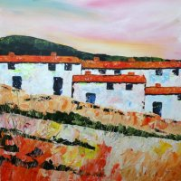 Andalucian Cottages, 60cm x 60cm, Acrylic on canvas
