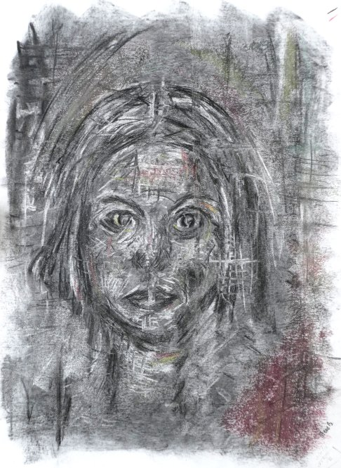 Face in Charcoal and chalk A3. Giacometti inspired.