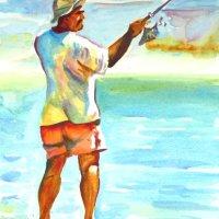 The fisherman. Watercolour A3