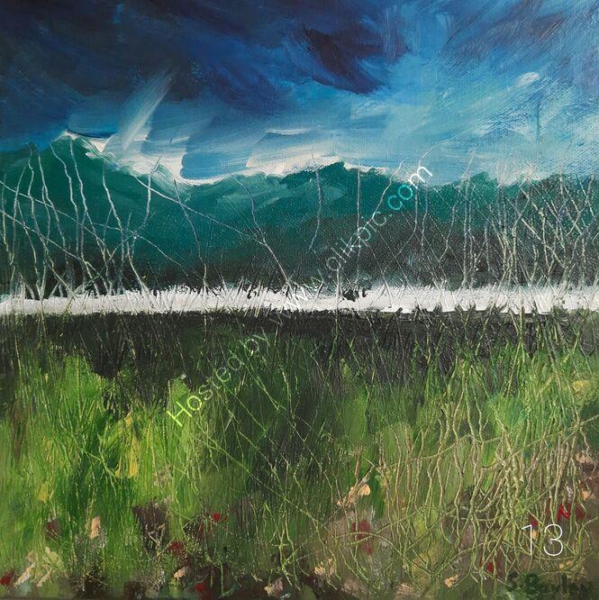 Grasses 2 - 30cm x 30cm. Acrylic on deep canvas. Available through dot art. £125