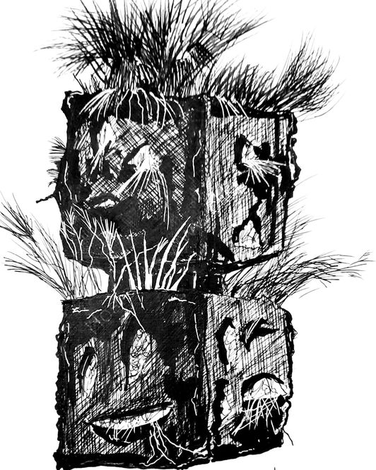My sketch of Stacked Heads. A Liverpool Biennial installation by Rashid Johnson.