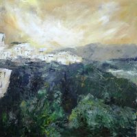 Ronda, Andalucia. Village on the Hill. Acrylic on canvas. 70cm x 70cm.