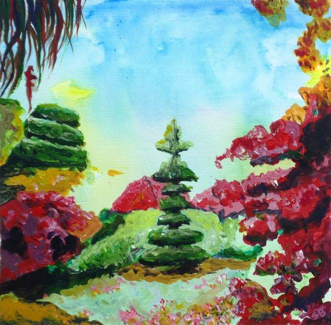 Calderstones Park, Liverpool. Japanese Gardens, Acrylic on canvas, 30cm x 30cm