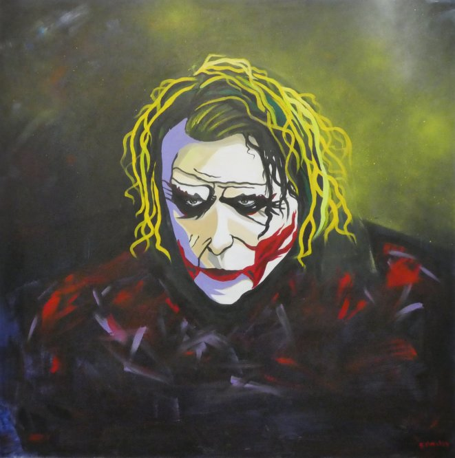The Joker in acrylic on canvas 100cm x 100cm