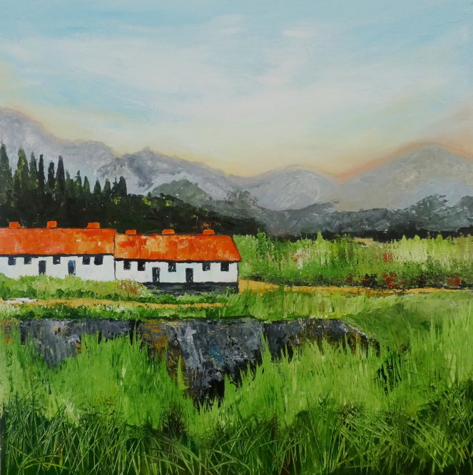 Cottages on hill, Andalucia. Acrylic on canvas 100cm x 100cm