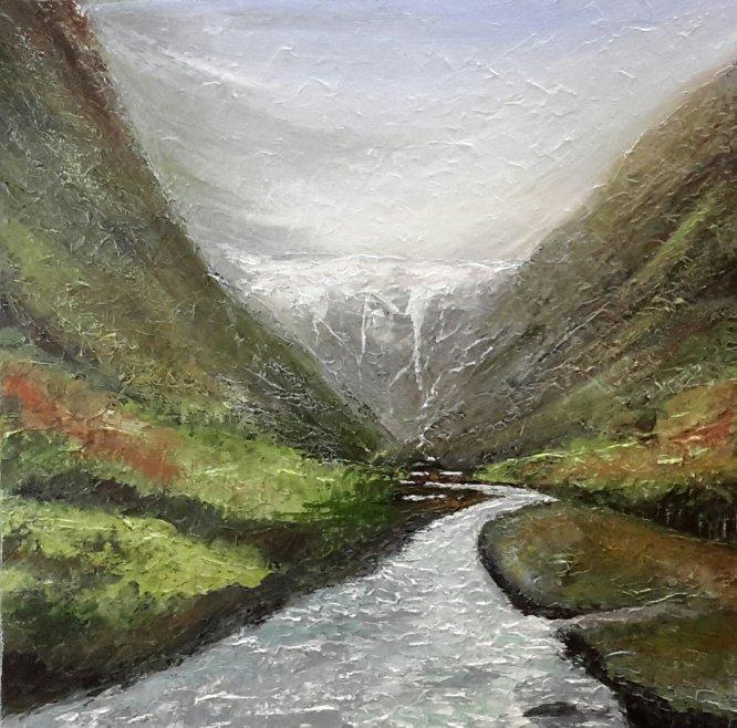 Norwegian Fjords - Glacier. 60cm x 60cm acrylic on canvas