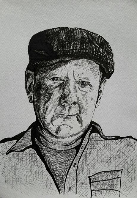 Self Portrait A3 in ink