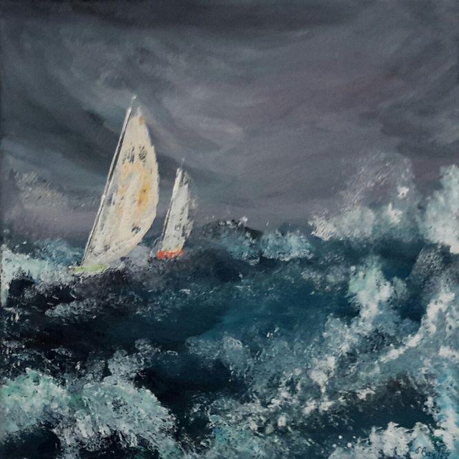 Yacht 2 - Acrylic on canvas 30cm x 30cm