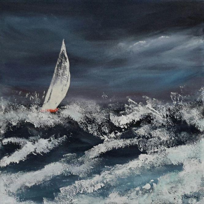Yacht 1 - Acrylic on canvas 30cm x 30cm