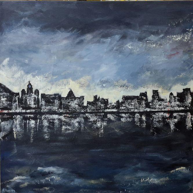 Waterfront (Liverpool) - Acrylic on canvas 60cm x 60cm