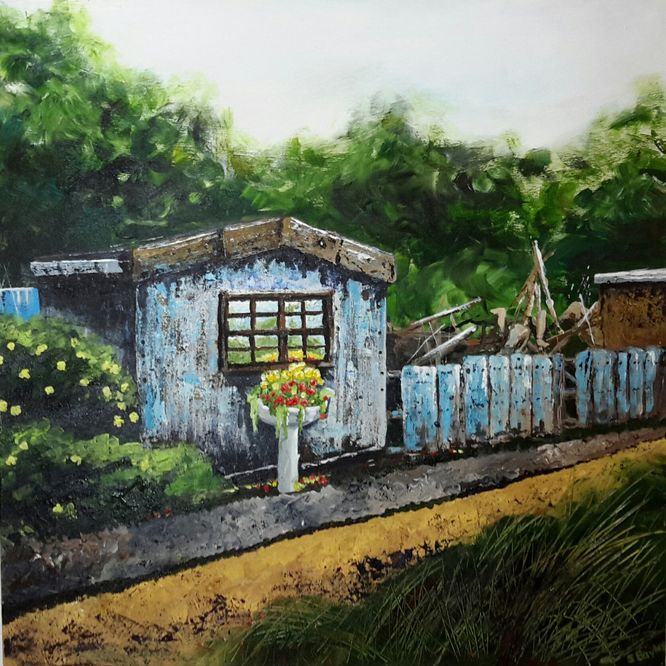 The allotment shed -Acrylic on canvas 60cm x 60cm