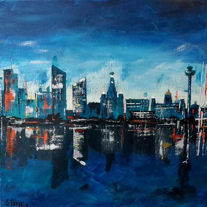 Liverpool in Blue 2. Acrylic on canvas 30cm x 30cm
