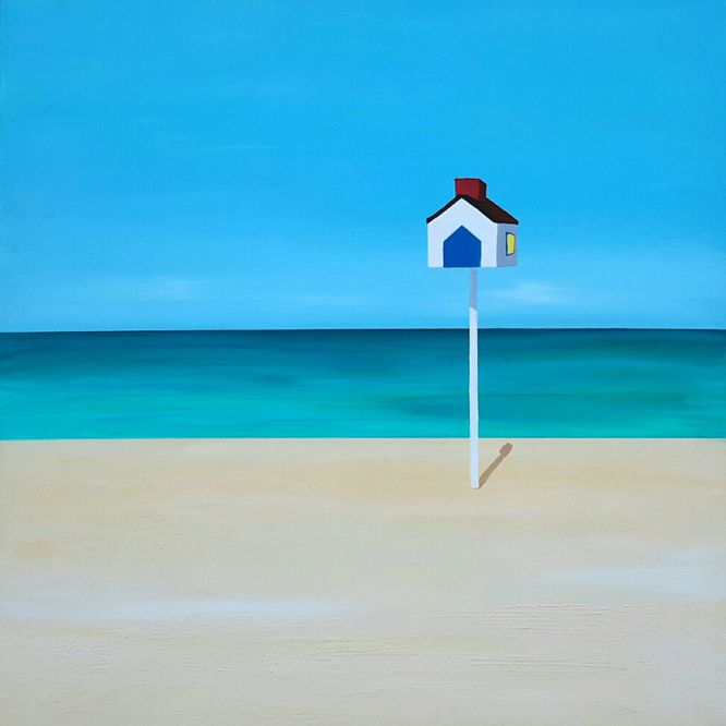 Deauville Beach, France. 80cm x 80cm Acrylic on canvas
