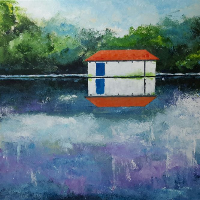 Calderstones Park. The old boathouse. 60cm x 60cm Acrylic on canvas