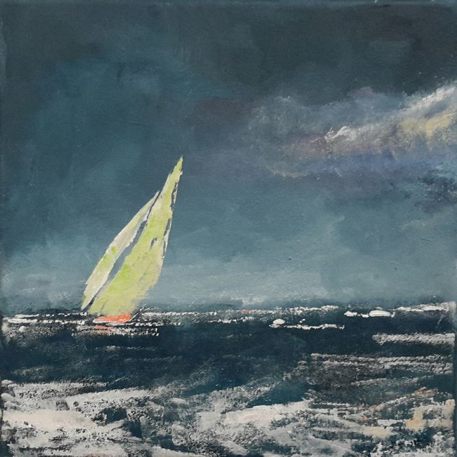 Yacht, Storm Coming. Acrylic on canvas. 30cm x 30cm