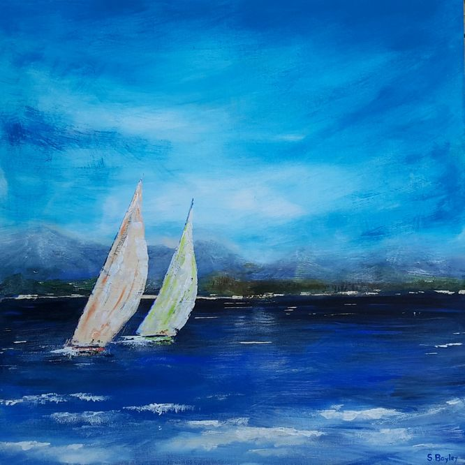 Yachts, extra blue day. Acrylic on canvas 60cm x 60cm