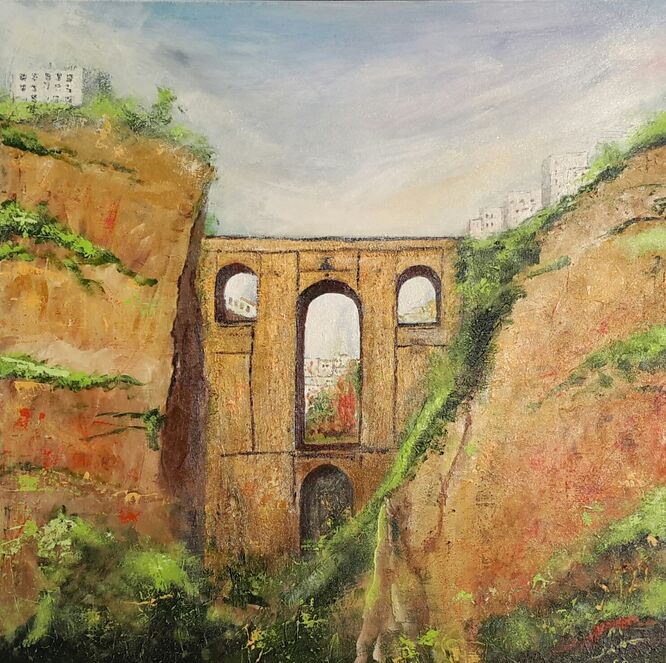 Ronda Bridge, Andalucia - 80cm x 80cm Acrylic on Canvas