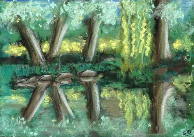 Calderstones Park, The newt pond, A3 in Pastel.