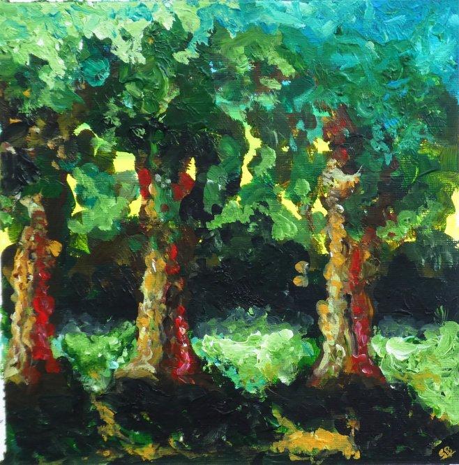 Calderstones Park, Three trees, Acrylic 25cm x 25 cm (Sold)