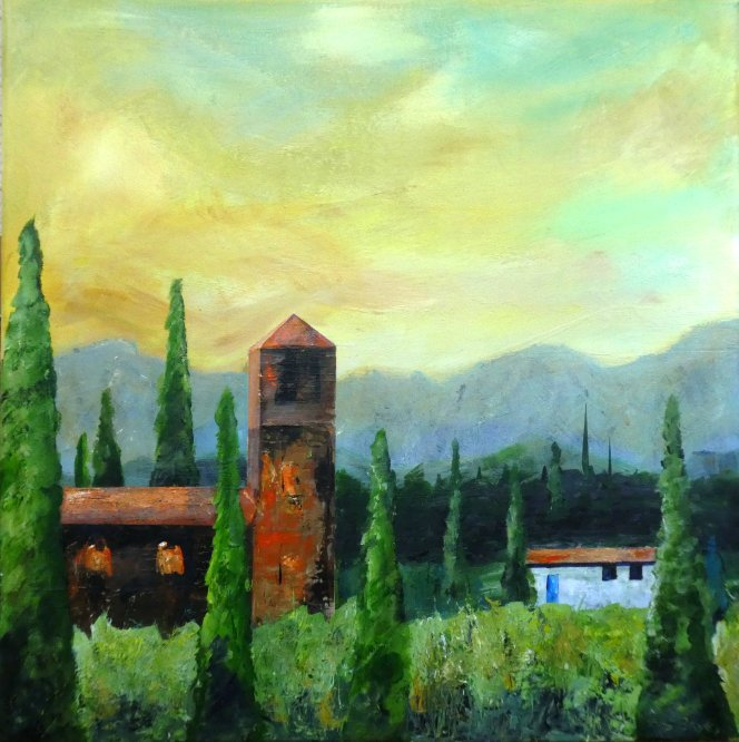 Tuscan Landscape, Italy. Acrylic on canvas 60cm x 60cm