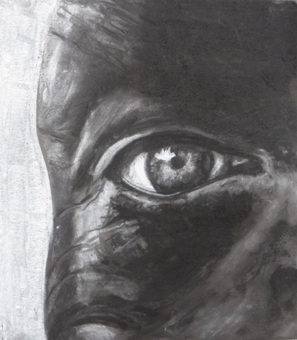 Charcoal and chalk eye A4