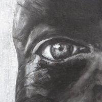 Charcoal and chalk eye A4
