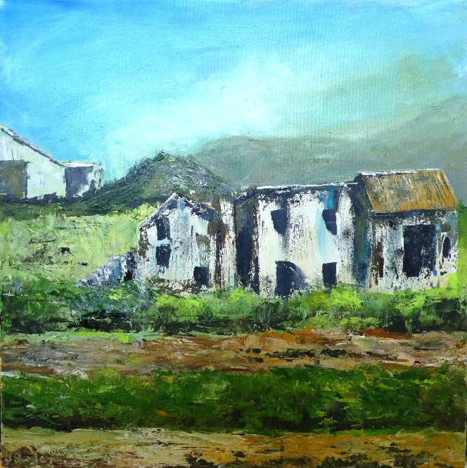 Ramshackled farm buildings, Andalucia. Acrylic on canvas 50cm x 50cm