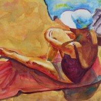 Woman on beach towel. Watercolour. A3