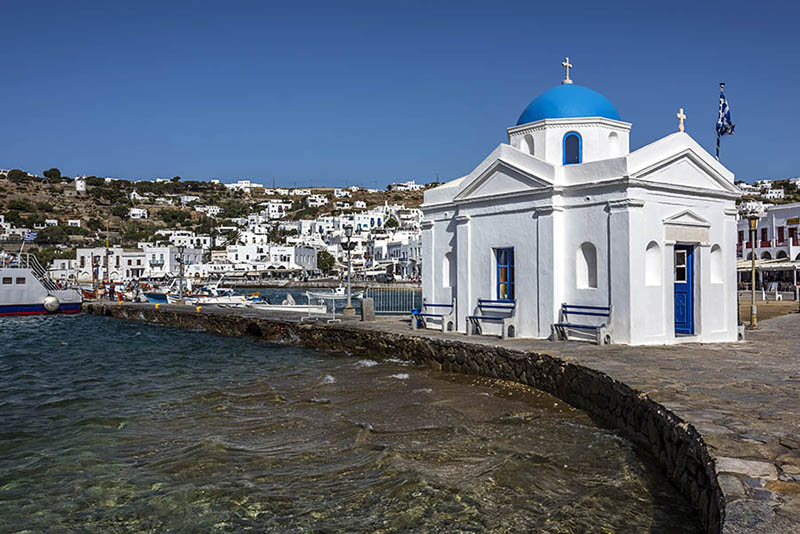 A Small Church at Mykonos Harbour