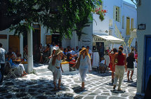 Tourists in Mykonos Town