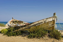 Abandoned boat at Argassi beach