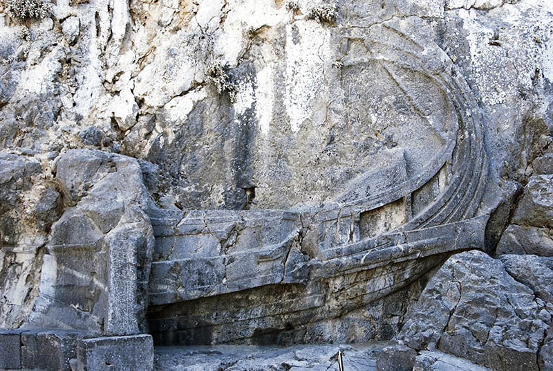 Ancient Trireme carving at The Acropolis entrance Lindos.