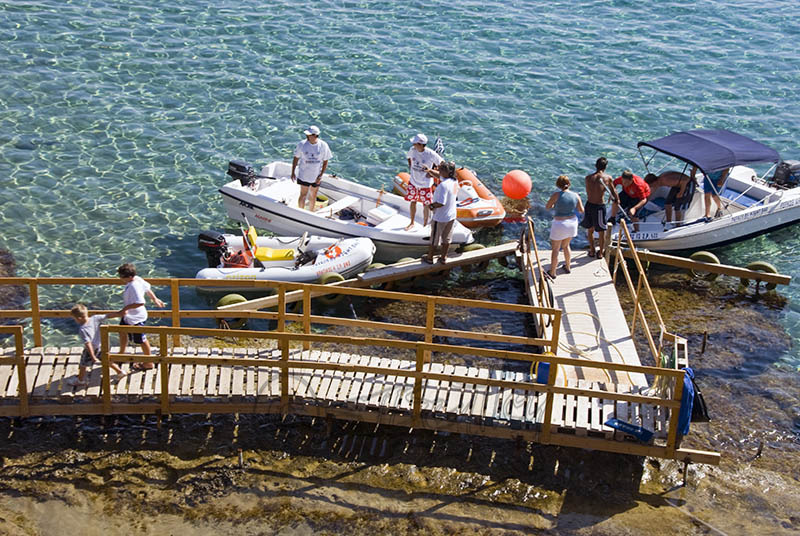 Boat hire at Pefkos Beach.