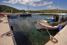 Boats at Chrousou Harbour Near. Paliouri.