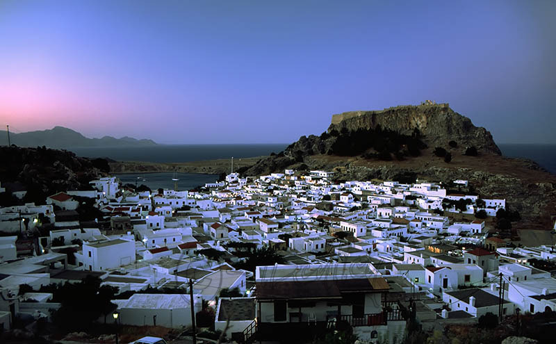 Evening Lindos Village.