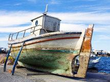 Fishing boat waiting for repair in Anti-Paros.