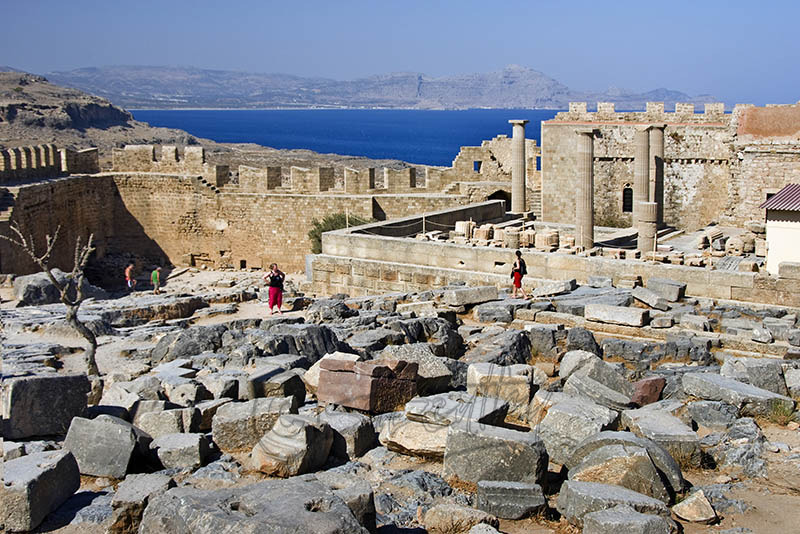Interior of the Acropolis at Lindos. (a).